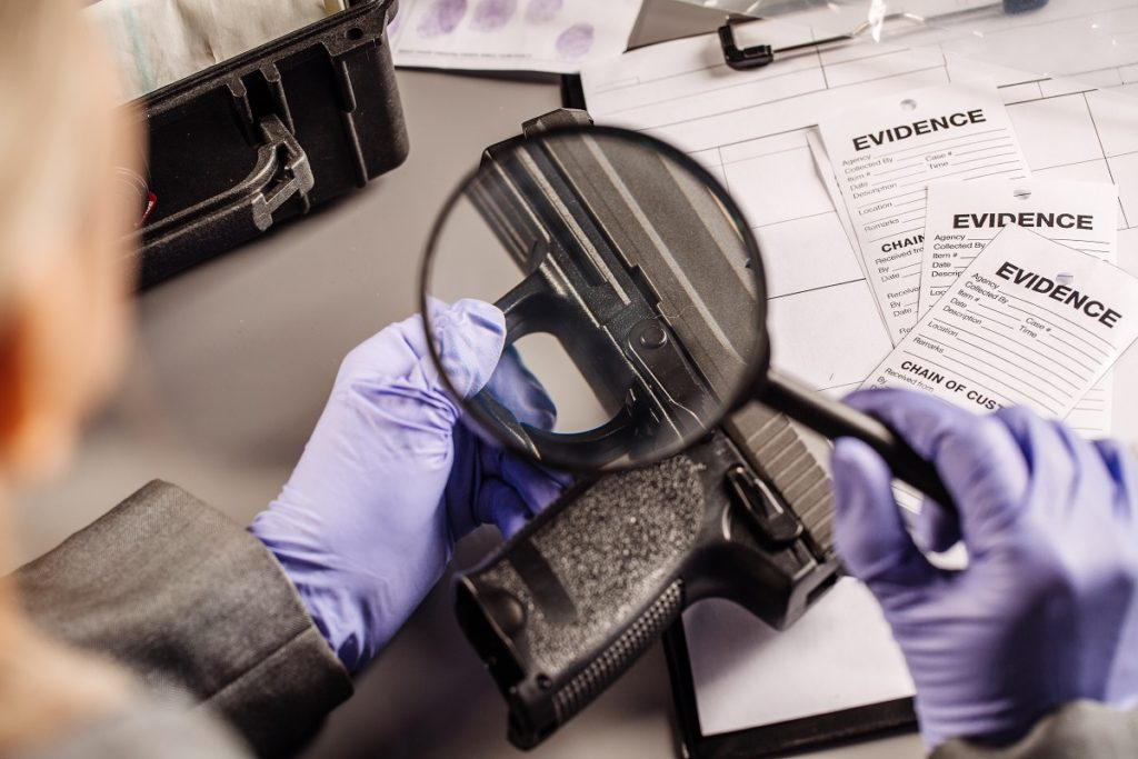 magnifying glass on evidence