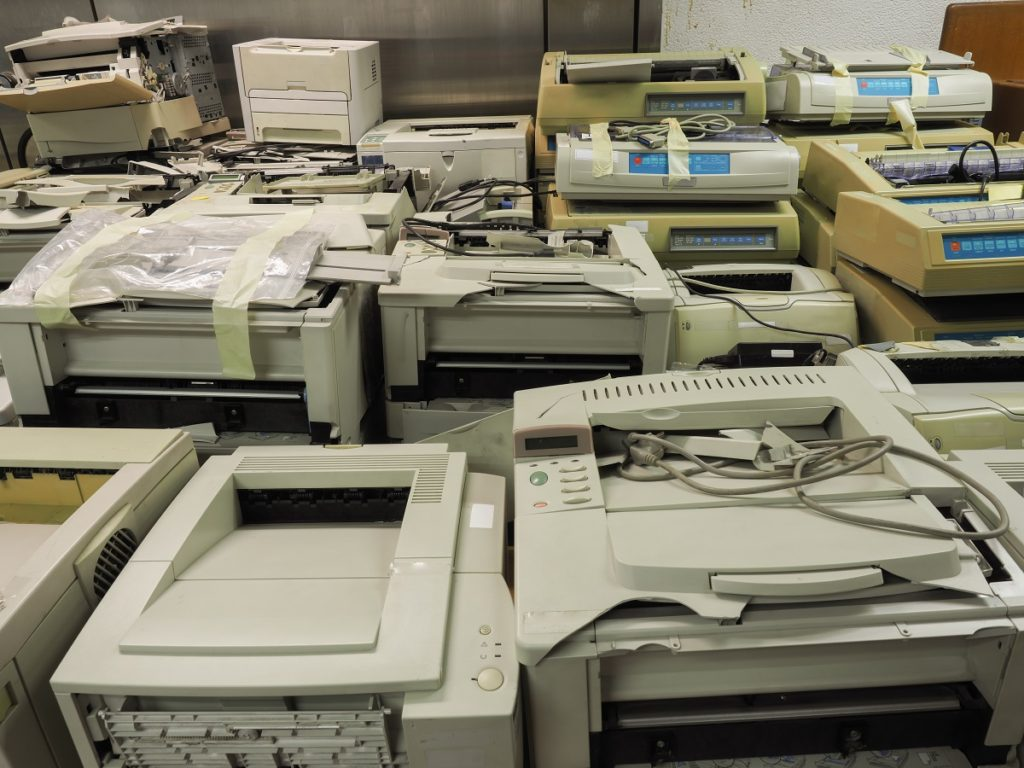 Electronic wastes stacked