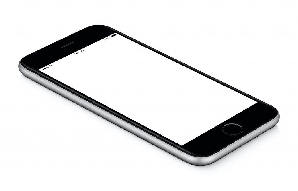 phone in a white blank screen