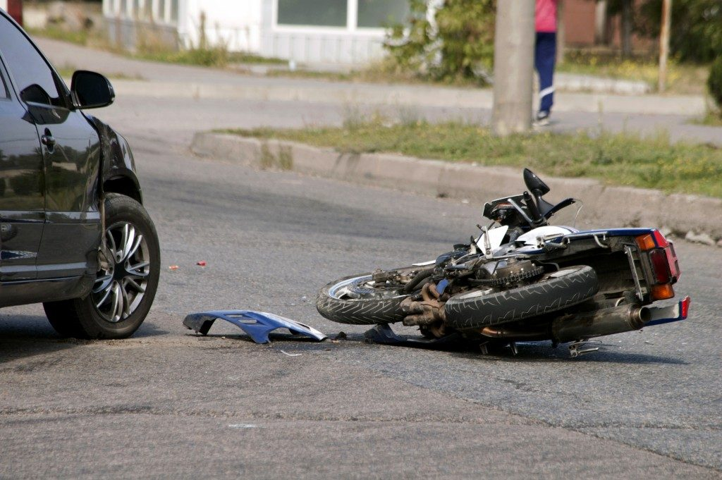 car and motorcycle in an accident