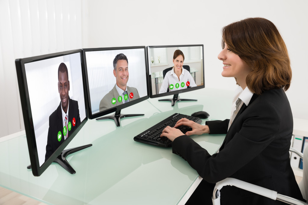 woman in a video conference
