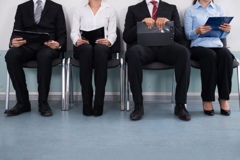 Job applicants sitting down