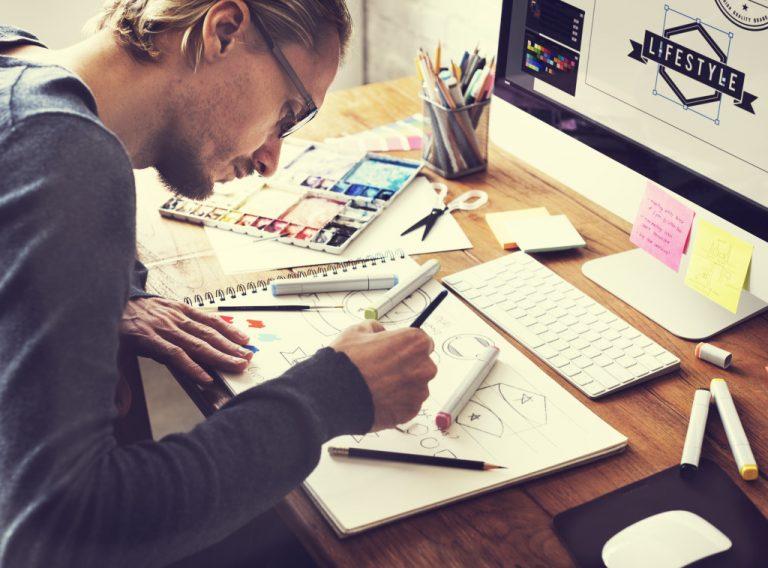 man making logos